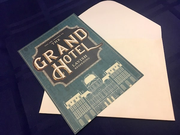 An invitation to the reopening of the Grand Hotel.