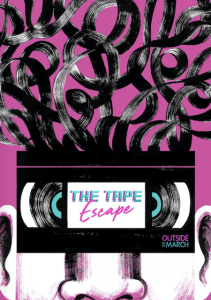 Promotional art, a tape over a person's eyes like glasses, the tape unravelling overhead like hair.