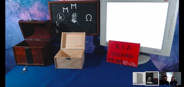 """Post-game screenshot of all of the boxes opened, a sign reads """"REA Escaped April 2019"""""""