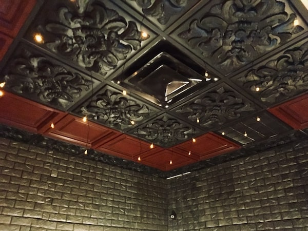 In-game: The ornate black and red ceiling,