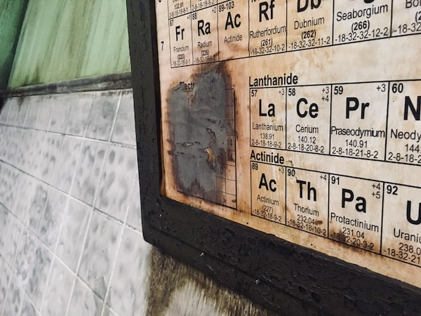 In-game: A worn periodic table of elements hung from the wall.