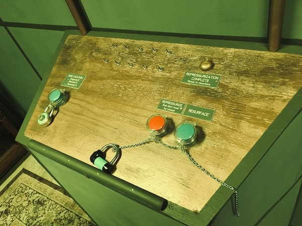 In-game: A control panel with a variety of switches and buttons.