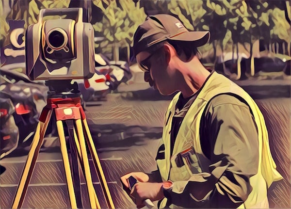 Stylized image of a surveyer working in a parking lot.