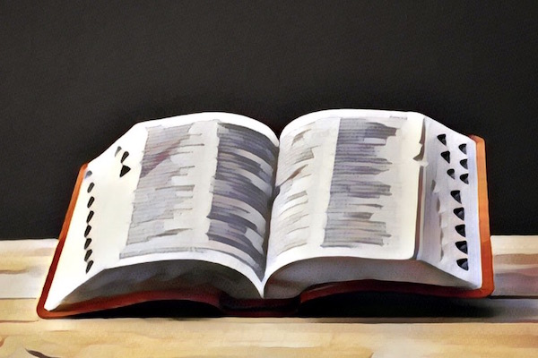 Stylized image of a dictionary open on a table.
