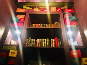 In-game: A display with many books and wand boxes.
