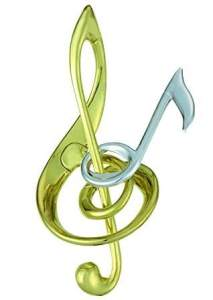 A tangled musical note and the treble clef symbol.