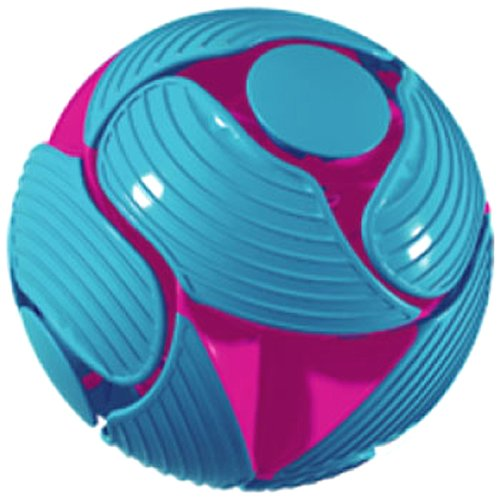 A blue ball with unusual cuts n the side. One the inside you can see purple coloration.