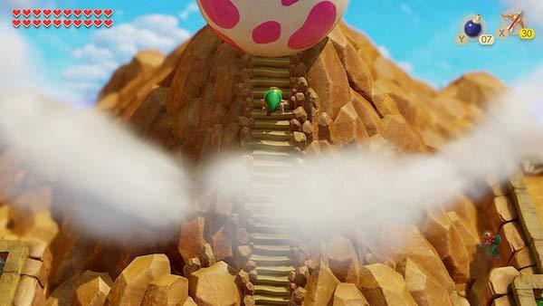 Link climbing a mountain to a massive egg.