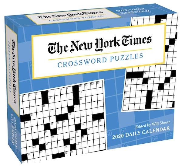 Box for the NY Times daily crossword calendar, depicts a crossword grid.