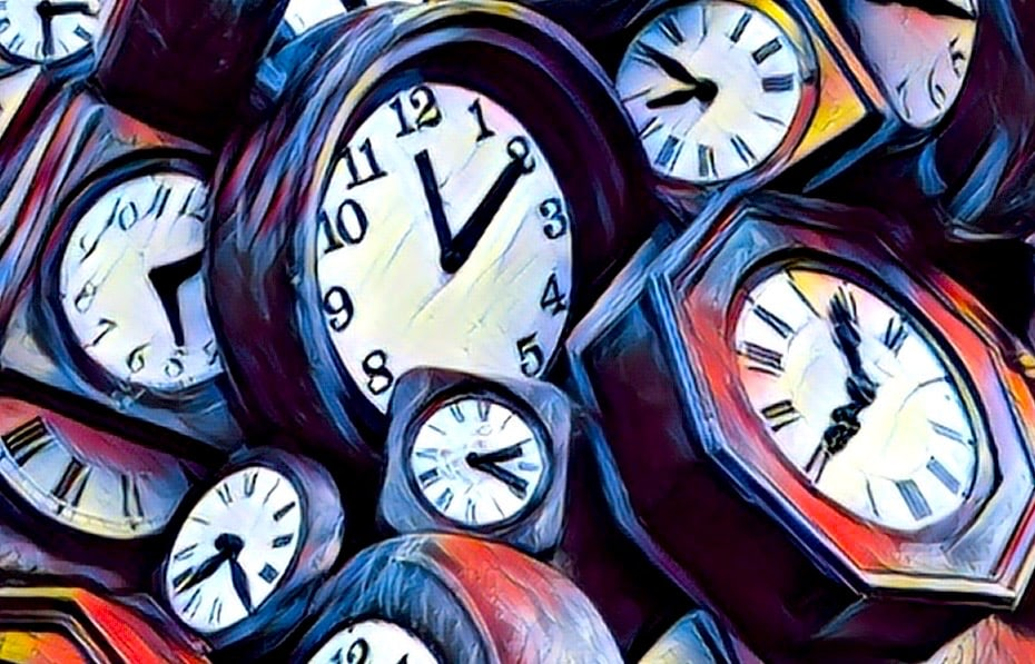Stylized image of many clocks in a pile.