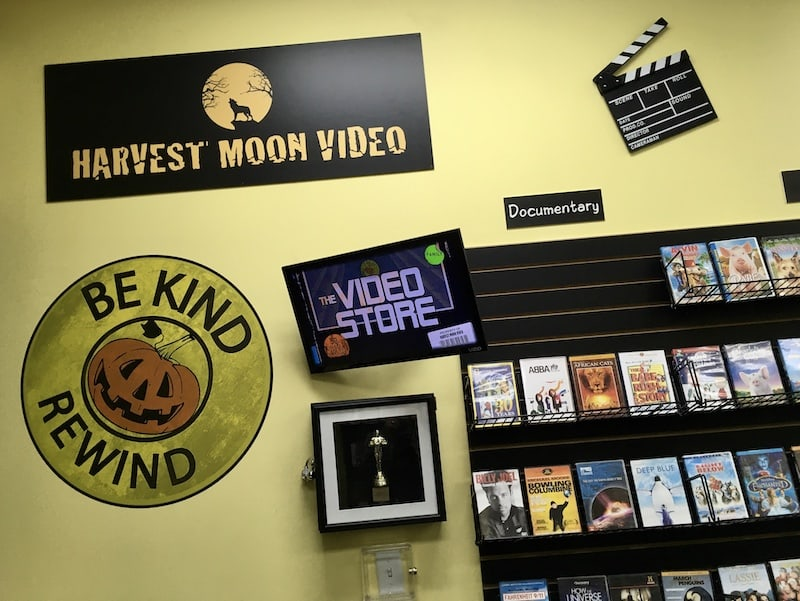 "In-game: The Harvest Moon Video logo beside a large sign that reads, ""Be kind rewind."""
