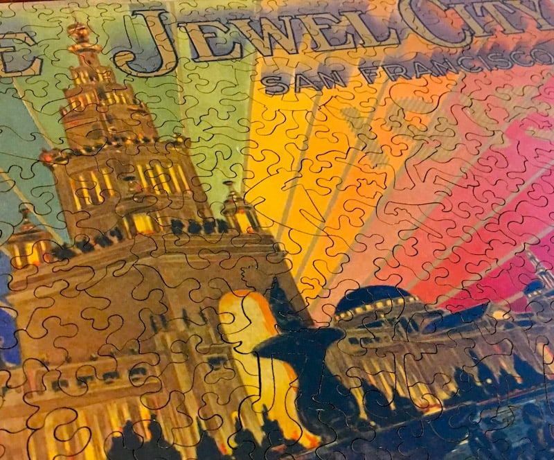 Close up of the intricately shaped Liberty Puzzle pieces assembled.