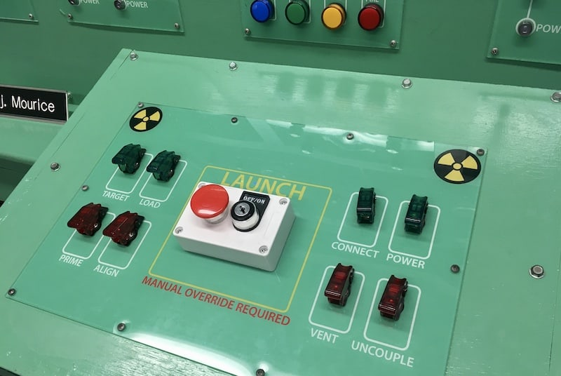 In-game: Closeup of a nuclear launch button.
