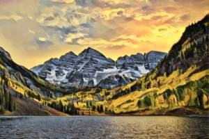 Stylized image of mountains and a lake.