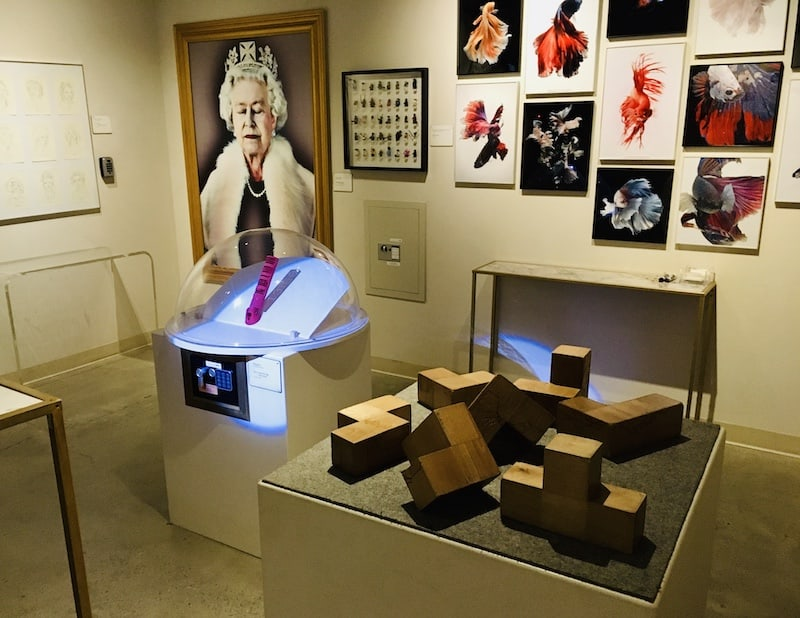 In-game: Wide view of the gallery, many pieces are on display, the two most prominent is a painting of the Queen of England with her eyes closed.