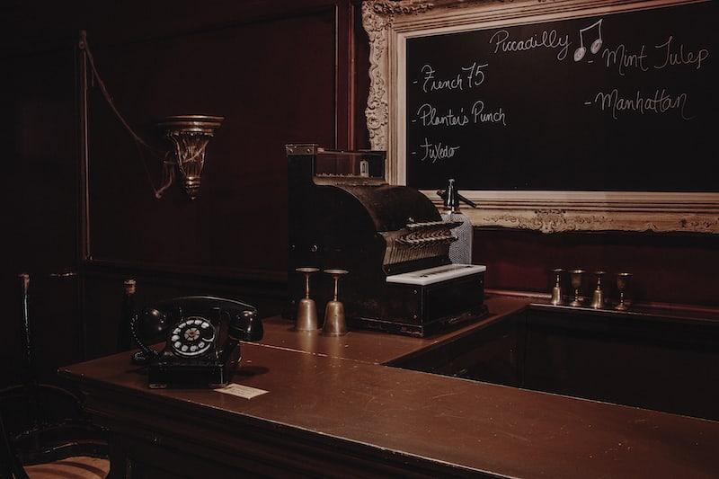 In-game: Closeup of an old bar's cash register.