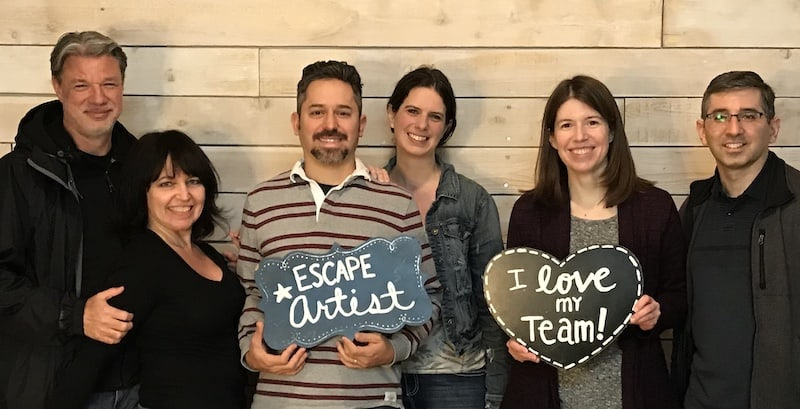 Escape room post-game photo - Diane & Sarah with their significant others and friends