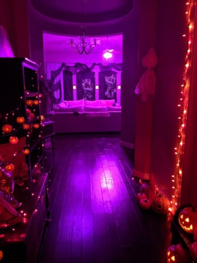 A halloway decorated for Halloween.