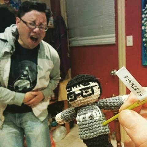 "Errol feeling the pain as his voodoo doll is stabbed witha pin labeled ""finale 2.0"""