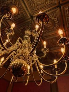 A lit chandelier.