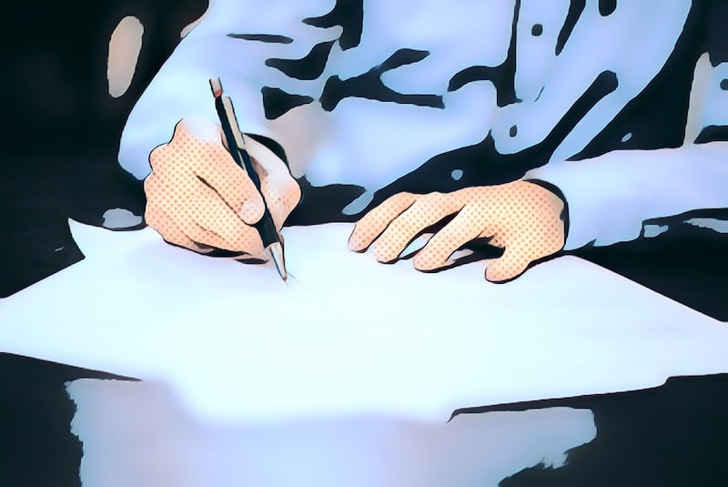 Comic book art of hands signing a document.