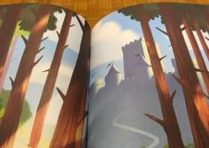 Illustration of a castle just beyond a forrest.