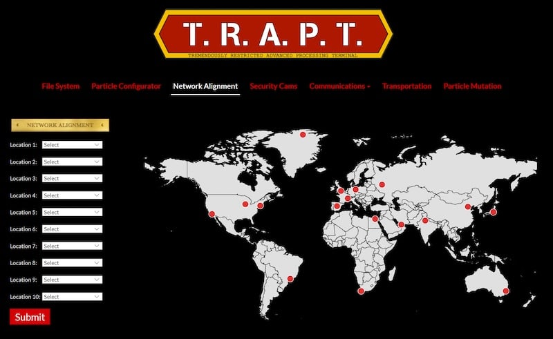 A Network Alignmnent world map with red dots in various cities has a location sequence interaction.