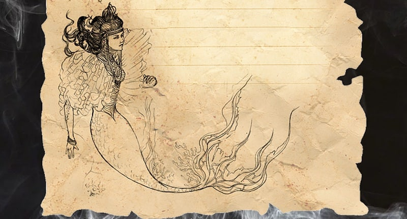 Sketch of a mermaid.