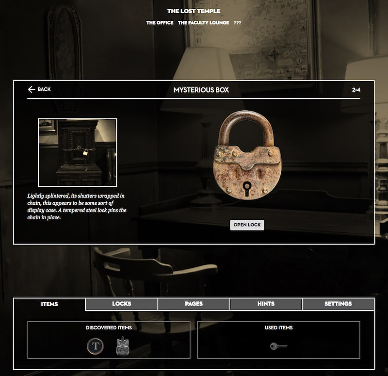 A web browser based UI to organize items, locks, pages, and hints.
