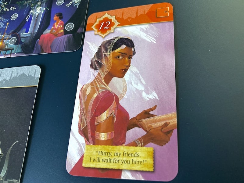 """Closeup of the Scheherazade card. She implores you to """"Hurry, my friends, I will wait for you here!"""""""