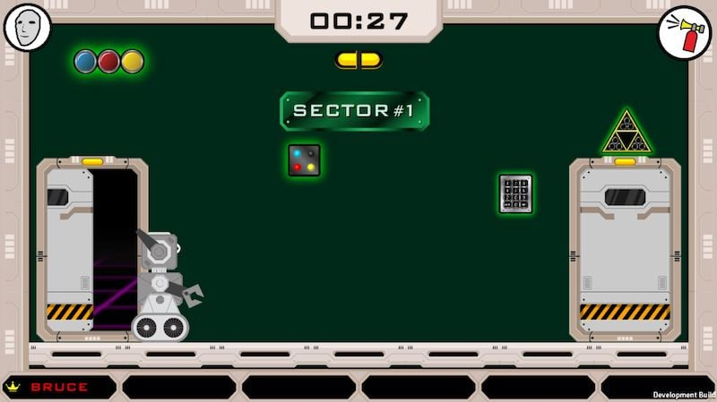 """In-game: A robot in a techy room labeld """"Sector #1"""""""