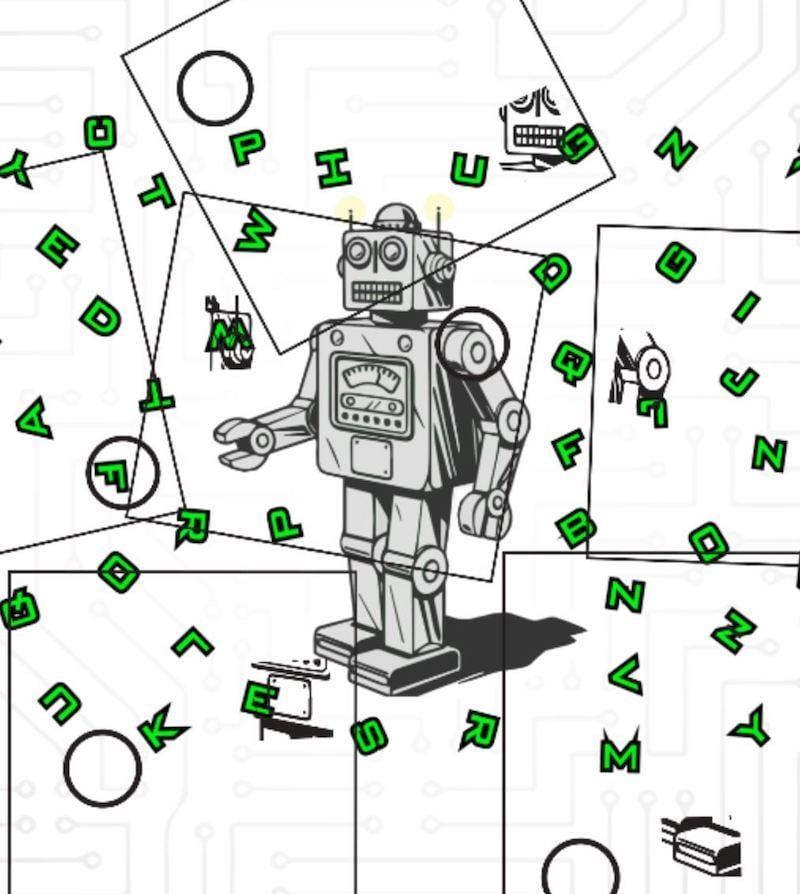 In-game: A robot surrounded by letters.