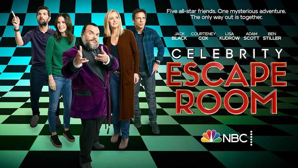 Jack Black, Ben Stiller, Courteney Cox, Lisa Kudrow, and Adam Scott on the teaser art for Celebrity Escape Room.