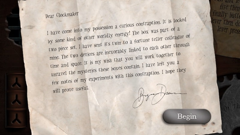 The intro letter to the Clockmaker player.
