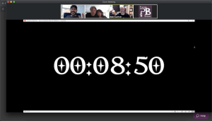 A Zoom screen share of a countdown clock with 8:50 remaining.