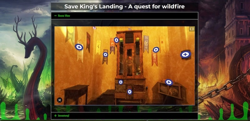 A portion of the 360 view of the room, with clickable icons above the areas of intrigue.