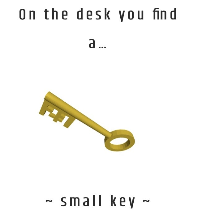 A 3D rendering of a small key.