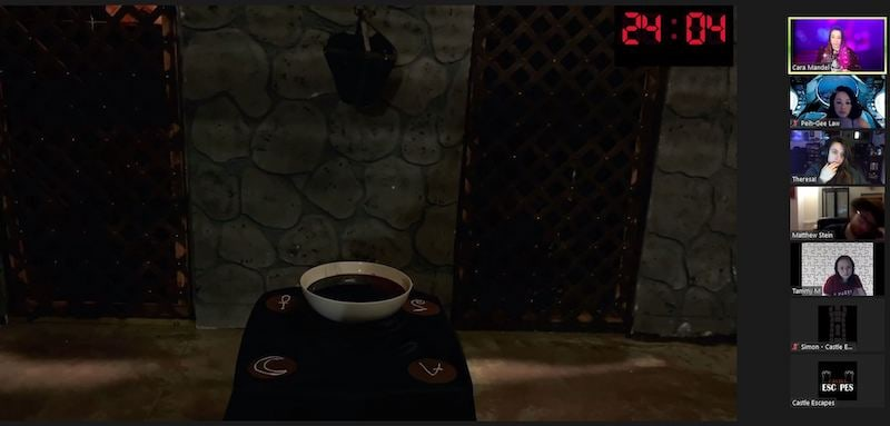 Zoom view of a castle-like set. There is a bowl that appears to be filled with blood in the cnter of the room.