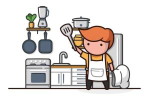 Illustration of Colby in a kitchen.