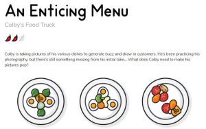 A menu puzzle depicting a few plates. This puzzle is rated 2/3 peppers.