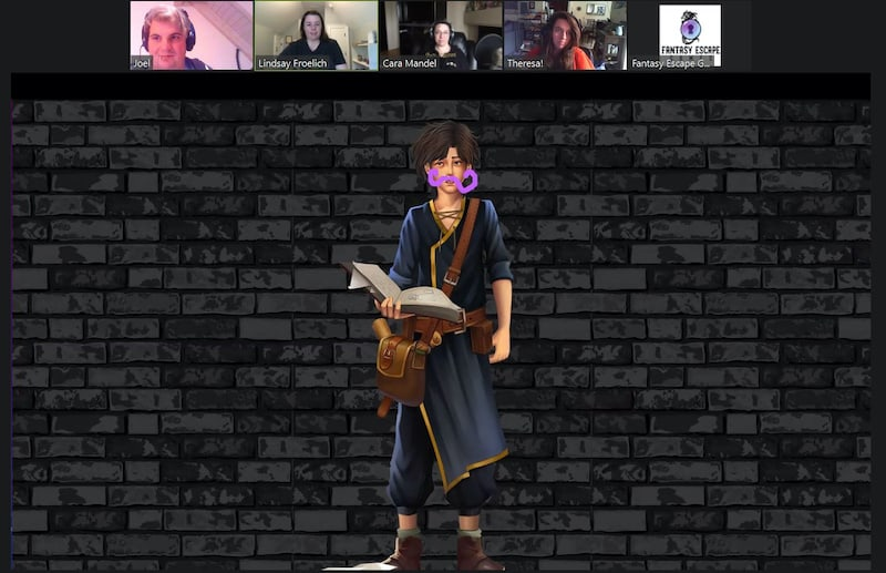 An illustrated young wizard looking character holding a book and appeas to have a purpl mustache grawn on his face.