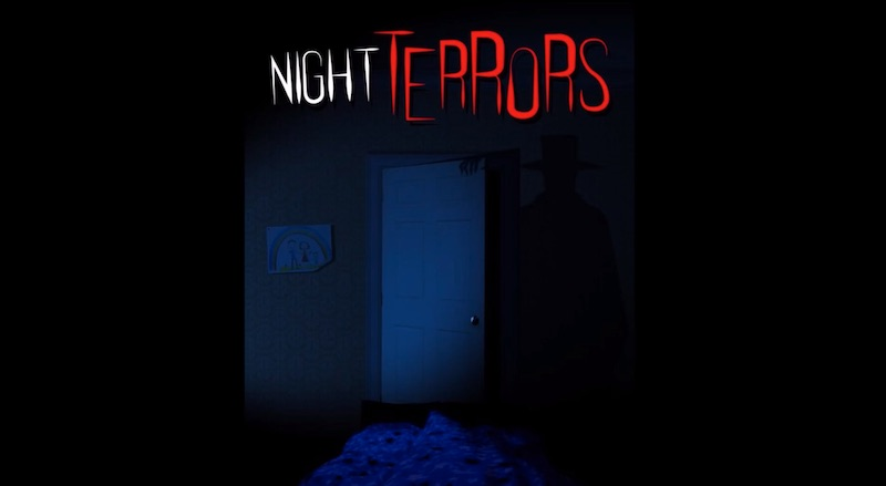 Night Terrors cover art depictes the shadow of a man in a hat against a bedroom wall.