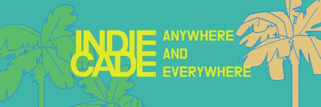 IndieCade Anywhere & Everywhere palm tree banner.