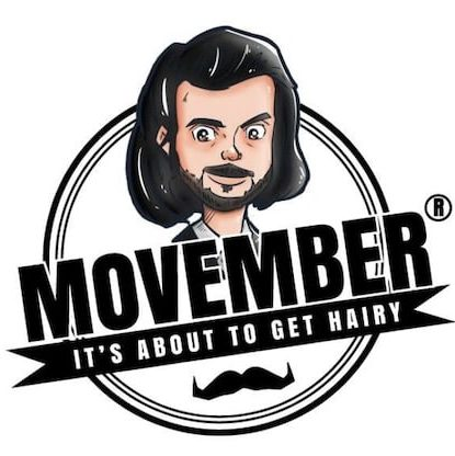 """Movember """"It's about to get hairy"""" logo."""