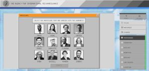An old looking black and white digital interface with photos and names of professors.