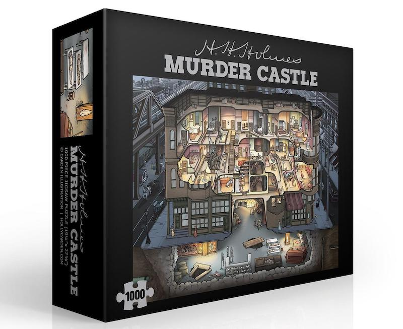 Illustrated box art for the 1000 piece Murder Castle puzzle.