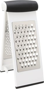A v shaped cheese grater with a flexible hinge.