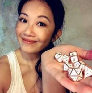 Peih-Gee Law with dice in her hand