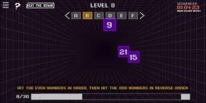 """A digital game with pixel art. It's labeled, """"hit the even numbers in order, then hit the odd numbers in reverse order."""""""