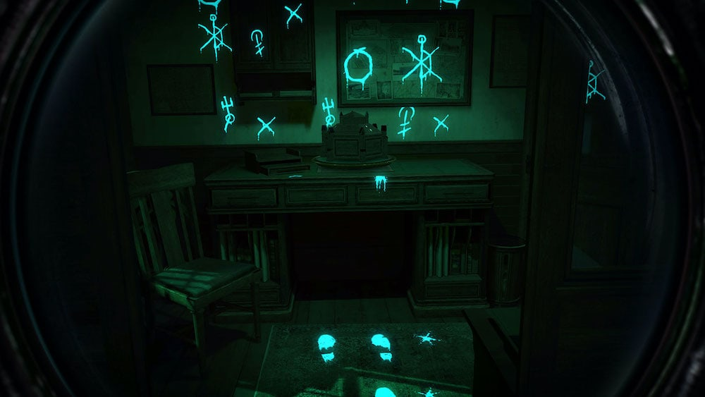 VR: a room illuminated though an unusual lense. Glyphs glow.
